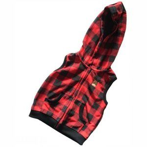 Carter's Red and Black Plaid Vest w/hood